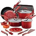Rachael Ray Hard Enamel Nonstick 16-Piece Cookware Set in Gradient Red