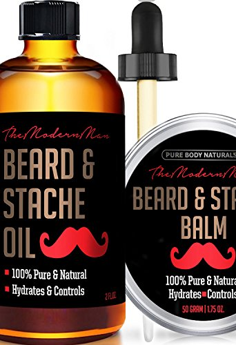 Beard-Oil-Beard-Balm-Mens-Gift-Set-2-oz-175-oz-Mustache-Oil-Beard-Kit-All-Natural-Beard-Conditioner-Beard-Oil-Argan-Apricot-Oil-Balm-Musk-Amber-by-Pure-Body-Naturals
