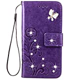 HAOTP Beauty Luxury 3D Fashion Handmade Bling Crystal Rhinestone Butterfly Floral Lucky Flowers PU Flip Stand Credit Card ID Holders Wallet Leather Case for Samsung Galaxy S7 Edge (Bling /Purple)