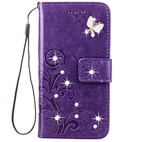 HAOTP Beauty Luxury 3D Fashion Handmade Bling Crystal Rhinestone Butterfly Floral Lucky Flowers PU Flip Stand Credit Card ID Holders Wallet Leather Case Cover for Samsung Galaxy Note 3 (Bling/Purple)