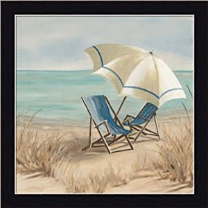 Summer Vacation II by Carol Robinson Adirondack Chair Beach Scene Art Print Framed Picture