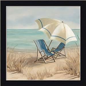 Summer Vacation II by Carol Robinson Adirondack Chair Beach Scene Art Print Framed Picture