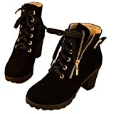 Hee Grand Women Thick Platform Heels Lace Up Boots US 7 Black