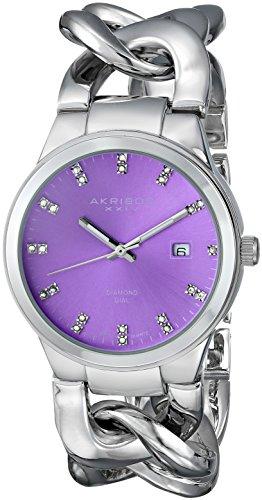 Akribos XXIV Women's Lady Diamond Analog Display Swiss Quartz Silver Watch