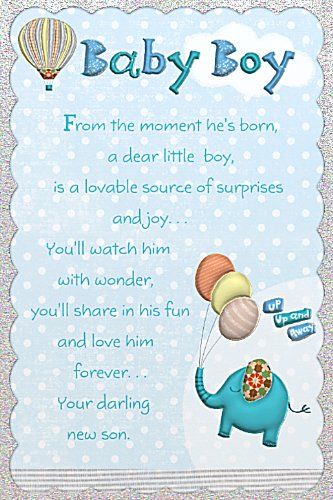 Birth Of Baby Boy Blue Reflections Greetings Card 9