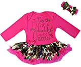 I'm The Pink In My Daddy's World Of Camo Bodysuit Pettiskirt Small Hot Pink