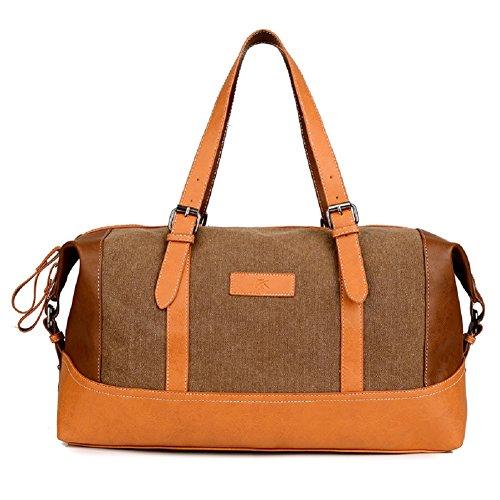 Borsone da Viaggio Grande - Feelme Borsa a Tracolla in Pelle di Tela e Pelle per Sport Weekend Bag Uomo Donna Vintage