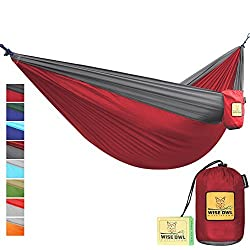 FLASH SALE The Ultimate Single Double Camping Hammocks- The Best Quality Camp Gear For Backpacking Camping Survival Travel- Portable Lightweight Parachute Nylon Ropes and Carabiners Included DoubleOwl Crimson & Charcoal DoubleOwl