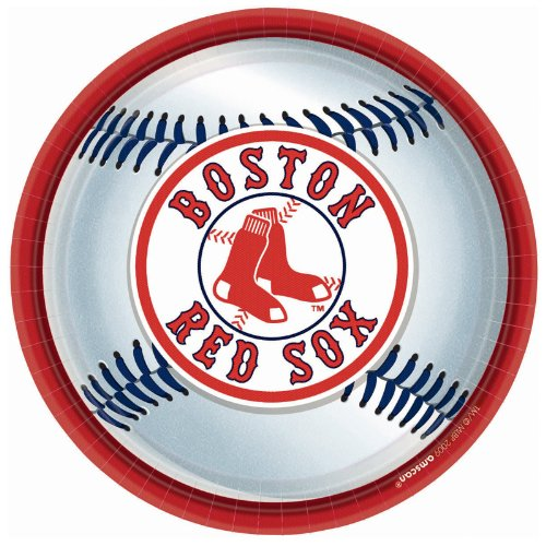 Amscan Boston Red Sox Round Dinner Plates, 9""