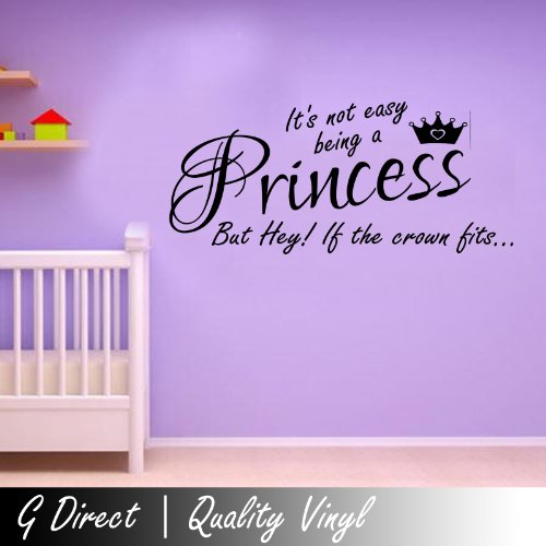 Its Not Easy Being A Princess Crown Girls Bedroom Wall Sticker Kids Vinyl Decal 100X55 (Black) front-889857