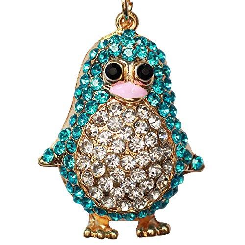Bolbove Cute Penguin Keychain Blingbling Keyring Crystal Rhinestones Purse Pendant Handbag Charm (Blue)