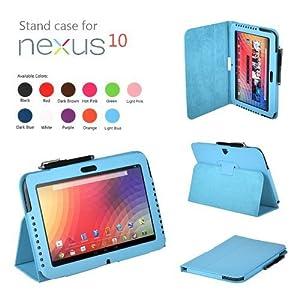 CaseGuru Premium Luxury Multi Function Standby Case/Cover/Folio for the Google Nexus 10.1 Inch Tablet and Stylus Pen (Sky Blue)