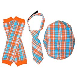 juDanzy Hat, Tie & Leg Warmer Set for Baby & Toddler Boys (4-12 Months, Tangerine & Turquoise)