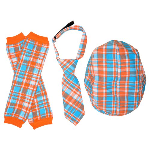juDanzy Hat, Tie & Leg Warmer Set for Baby & Toddler Boys (1-3 Years, Tangerine & Turquoise) (Baby Boy Ties compare prices)