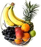 CARAT Fruit Bowl Basket with Banana Hanger - Chrome Wire Basket