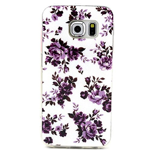 Shensee For Samsung Galaxy S6 Edge Retro Vintage Floral Rubber Soft TPU Case Cover (purple)