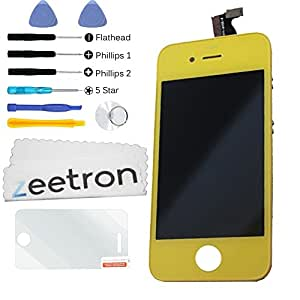 Zeetron Front Screen Digitizer LCD Assembly for iPhone 4S (AT&T Verizon Sprint) - Yellow + Tools + Screen Protector + Cloth