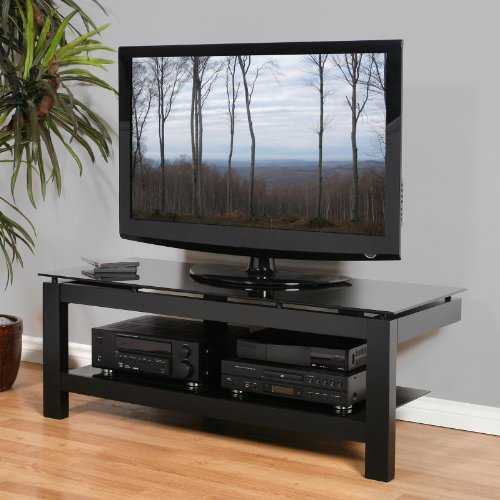 Cheap Plateau SL Series 50 Inch 2 Shelf TV Stand Black on Black (SL-2V (50) (B)-BG)