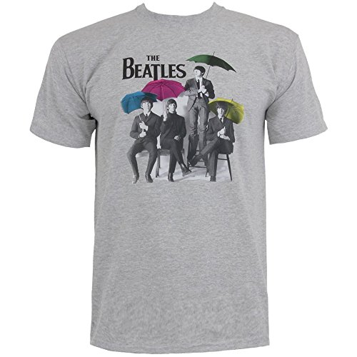 The Beatles Ombrelli T Shirt (Grigio) - Large