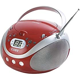 Coby CX-CD241 Portable CD Player with AM/FM Stereo Tuner, Red
