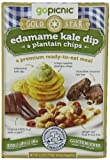 GoPicnic Gold Star Premium Ready-To-Eat Meals: Edamame Kale Dip & Plantain Chips, 4.3 Ounce (Pack of 6)