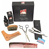 Professional Beard Kit GBS - Includes Cutting and Styling Scissors, Conditioning Oil, Boar Bristle Beard Brush, Barber Shavette, Beard Shaping Template, 7
