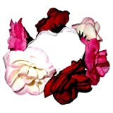Hair accessory - light pink , red and fuchsia flower scrunchie / bun ring / bun decoration. Very fashionable brand new. Birthday or Christmas gift. Perfect stocking fillers , gift ideas