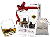 Premium Whiskey Stones - Scotch Rocks - Deluxe Christmas Gift Box Set of 9 Whisky Chilling Cubes - With Deluxe Bag