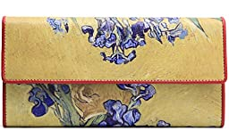 Jiame Trifold Printed Leather Wallet - Van Gogh (Vase of Irises Against a Yellow Background)