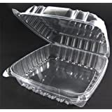 Pack of 100 Large Clear Plastic Hinged Food Container 9x9 for Sandwich Salad Dessert Pastry