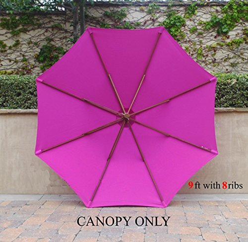 9ft Umbrella Replacement Canopy 8 Ribs in Fuchsia (HOT PINK, Canopy Only)