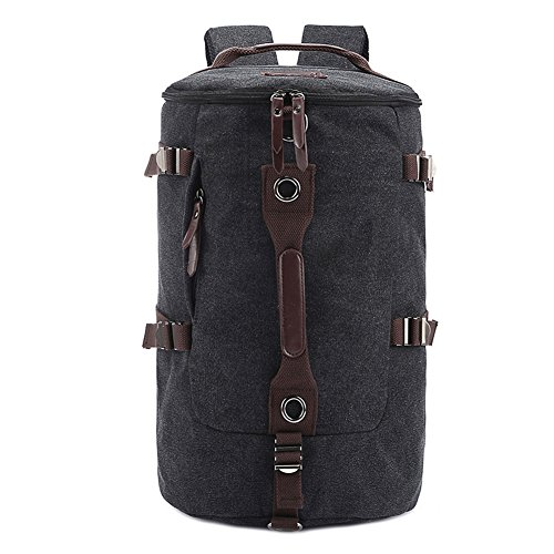 FTSUCQ Mens Canvas Backpack Travel Daypack Tote bag Black Camping Handbags