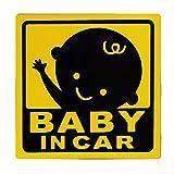 BABY IN CAR 赤ちゃん乗車中 マグネット 外貼り ステッカー12cm 黄色 男の子