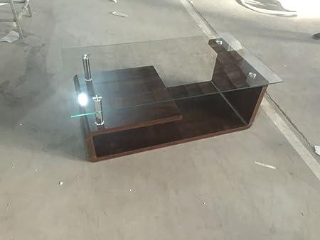 Tavolino da caffè in vetro, in legno Mdf, marrone, Contemporart moderno per soggiorno marrone scuro