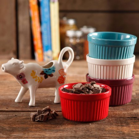 Flea Market 5-Piece Serving Set, 4 Ramekins in Assorted Colors and Cow Creamer- Floral