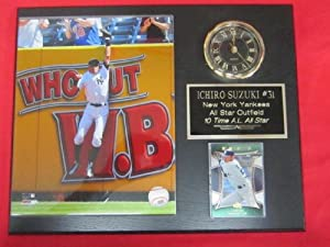 Ichiro Suzuki New York Yankees Collectors Clock Plaque w 8x10 Photo and Card by J & C Baseball Clubhouse