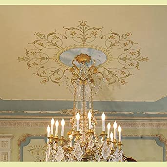Decorative stencil marie antoinette ceiling medallion for French ceiling design