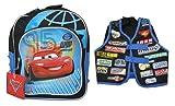 """Disney Pixar Cars 11"""" Toddler Backpack Lightning Mcqueen Bonus """"Vest"""""""