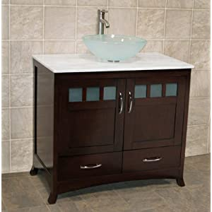 "Amazon.com: 36"" Bathroom Vanity Cabinet white Granite Top Vessel"