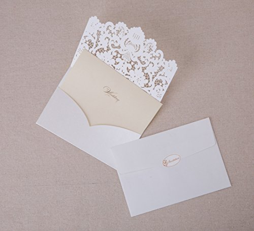Wishmade 50pcs Ivory Laser Cut Lace Wedding Invitation kit Card Stock with Embossed Floral For Marriage Party Supplies (Set of 50 Piece) 4