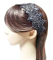 TdZ Fashion Elastic Headband - Lace Wide Wonder Hearts (Black)