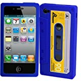 Blue Retro Cassette Silicone Case For iPhone 4 4S