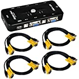 ieGeek® 4 Port USB KVM Switch Box + 4 VGA USB Cables for PC Monitor/Keyboard/Mouse Control