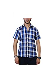 Across Seas Bold Blue And White Check Shirt