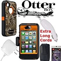 Otterbox Defender Case RealTree Camo Pattern Orange Max (Grass) for iPhone 4s & 4 with Car Charger, Travel Charger and Veritcal Case that fits the phone with the Otterbox on it. Also comes with Anti Radiation Shield.