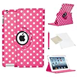 ICHOOSE 360 Rotating Case/Cover for Apple iPad Air 2 (2nd Generation iPad AIR) New Premium PU Leather 360 Degree Rotating Smart Case Stand Rotation Swivel Cover with Free Screen Protector & Stylus Pen - POLKA DOT DEEP PINK/WHITE