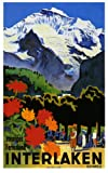 Interlaken Switzerland ... Large Vintage Travel/Ski Poster
