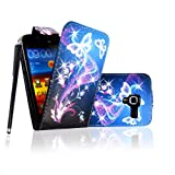 For Samsung Galaxy Ace 2 II i8160 Ultra Butterfly Style 7 Printed PU Leather Magnetic Protected Flip Case Cover + Free Stylus
