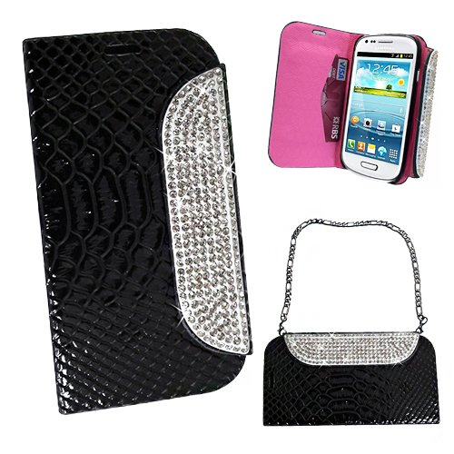Xtra-Funky Exclusive Faux Leather Crocodile / Snake Print Flip Handbag Purse Wallet Style Case With Embedded Crystals On The Magnetic Closing Catch For Samsung Galaxy S3 (I9300) - Black