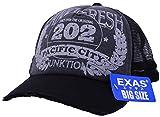 Amazon.co.jp(エクサス)EXAS (大きいサイズ帽子 最大65cm対応)ピグメントウォッシュプリントメッシュキャップ ブラック(ツバ部分ダメージ加工)